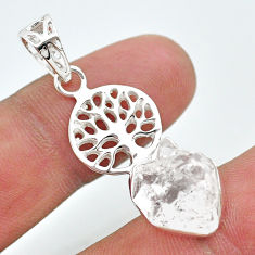 925 silver 7.22cts natural white herkimer diamond tree of life pendant t29660