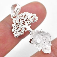 925 silver 7.03cts natural white herkimer diamond tree of life pendant t49059