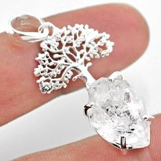 925 silver 7.12cts natural white herkimer diamond tree of life pendant t49069