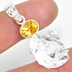 925 silver 21.30cts natural white herkimer diamond yellow citrine pendant r83118