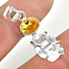 925 silver 9.34cts natural white herkimer diamond yellow citrine pendant t50103