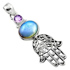 925 silver 6.26cts natural white opalite hand of god hamsa pendant r52829