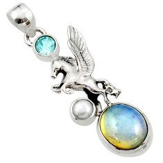 925 silver 6.56cts natural white opalite topaz pearl unicorn pendant r52731
