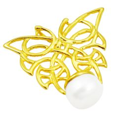 925 silver natural white pearl 14k gold butterfly pendant jewelry c24119