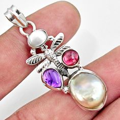 925 silver 10.70cts natural white pearl amethyst dragonfly pendant d43935