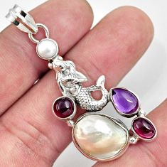 925 silver 15.35cts natural white pearl amethyst fairy mermaid pendant d43937