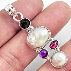 Clearance Sale- 925 silver 13.79cts natural white pearl amethyst garnet pendant jewelry d43951