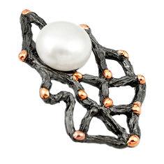 925 silver natural white pearl black rhodium 14k rose gold pendant c24194
