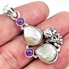 925 silver 15.69cts natural white pearl purple amethyst angel pendant d43924