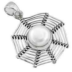 925 silver 5.53cts natural white pearl round spider web pendant jewelry r67547