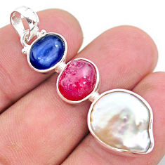 925 silver 14.40cts natural white pearl ruby raw kyanite pendant t25429