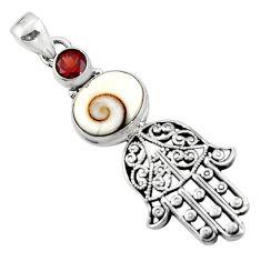 925 silver 5.57cts natural white shiva eye hand of god hamsa pendant r52840