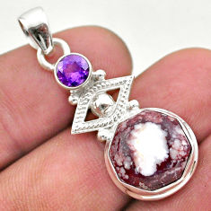 925 silver 6.81cts natural wild horse magnesite hexagon amethyst pendant t46440