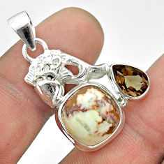 925 silver 9.34cts natural wild horse magnesite smoky topaz fish pendant t55500