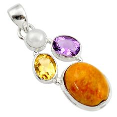 925 silver 15.65cts natural yellow amber bone amethyst citrine pendant d43073