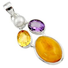 Clearance Sale- 925 silver 14.72cts natural yellow amber bone amethyst citrine pendant d43079