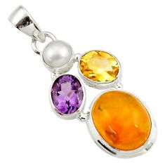 Clearance Sale- 925 silver 12.83cts natural yellow amber bone amethyst pearl pendant d43067