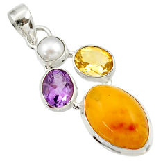 Clearance Sale- 925 silver 15.08cts natural yellow amber bone amethyst pearl pendant d43076
