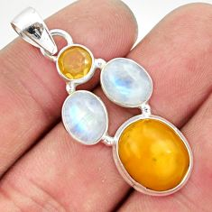 925 silver 12.91cts natural yellow amber bone moonstone citrine pendant d43099