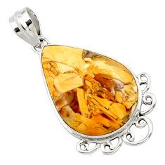 925 silver natural yellow brecciated mookaite (australian jasper) pendant r27609