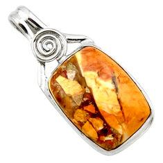 925 silver natural yellow brecciated mookaite (australian jasper) pendant r27614