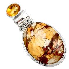 925 silver natural yellow brecciated mookaite (australian jasper) pendant r27784