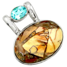 925 silver 20.65cts natural yellow brecciated mookaite topaz pendant r31918