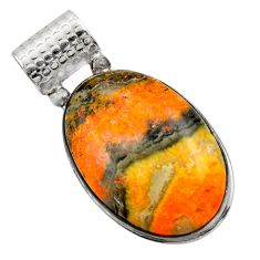 925 silver 22.02cts natural yellow bumble bee australian jasper pendant r32009