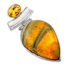 925 silver 26.00cts natural yellow bumble bee australian jasper pendant r32015