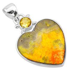 925 silver 13.73cts natural yellow bumble bee australian jasper pendant t13407
