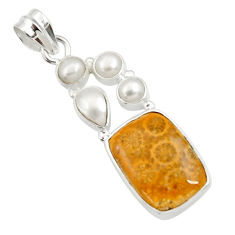 925 silver 16.17cts natural yellow fossil coral petoskey stone pendant d44638