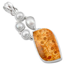 925 silver 18.36cts natural yellow fossil coral petoskey stone pendant d46760