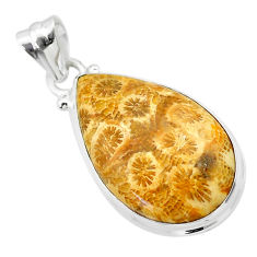 925 silver 15.65cts natural yellow fossil coral petoskey stone pendant t26644