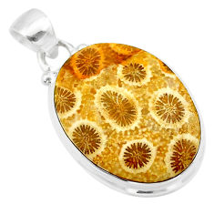 925 silver 14.20cts natural yellow fossil coral petoskey stone pendant t26657