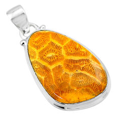 925 silver 16.65cts natural yellow fossil coral petoskey stone pendant t26664