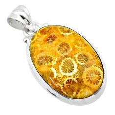 925 silver 16.73cts natural yellow fossil coral petoskey stone pendant t26667