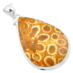 925 silver 19.20cts natural yellow fossil coral petoskey stone pendant t26677