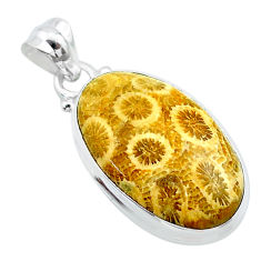 925 silver 14.65cts natural yellow fossil coral petoskey stone pendant t26680
