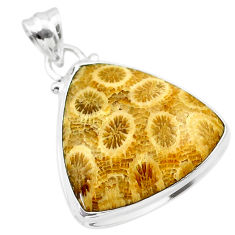 925 silver 17.57cts natural yellow fossil coral petoskey stone pendant t26715
