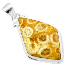 925 silver 14.20cts natural yellow fossil coral petoskey stone pendant t26719