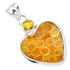 925 silver 16.20cts natural yellow fossil coral petoskey stone pendant t30545