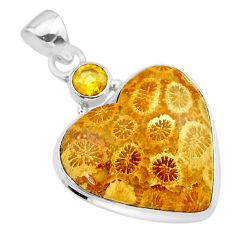925 silver 19.23cts natural yellow fossil coral petoskey stone pendant t30558