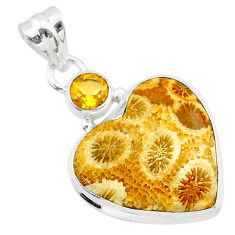 925 silver 13.67cts natural yellow fossil coral petoskey stone pendant t30572