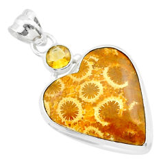 925 silver 15.08cts natural yellow fossil coral petoskey stone pendant t30575