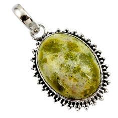 925 silver 17.65cts natural yellow lizardite (meditation stone) pendant r27953