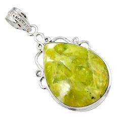 925 silver 18.15cts natural yellow lizardite (meditation stone) pendant r27957