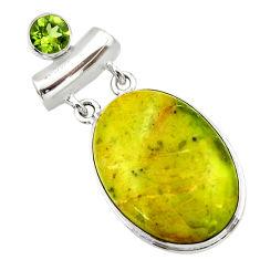 925 silver 23.95cts natural yellow lizardite (meditation stone) pendant r32184