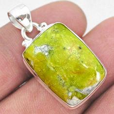 925 silver 16.20cts natural yellow lizardite (meditation stone) pendant t42639