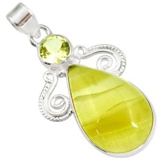 Clearance Sale- 925 silver 19.23cts natural yellow olive opal pear green amethyst pendant d41416