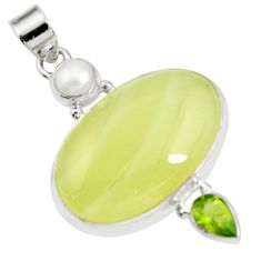 Clearance Sale- 925 silver 27.13cts natural yellow olive opal peridot pearl pendant d41414
